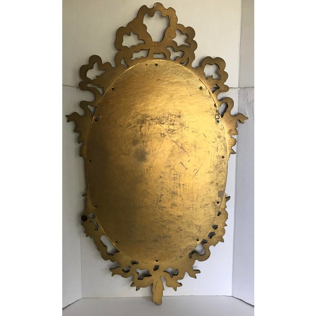 Resin Vintage Syroco Oval Wall Mirror With Gold Bow Designs For Sale - Image 7 of 8