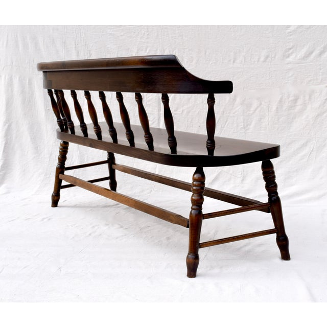 Farmhouse Pine Spindle Back Bench For Sale - Image 4 of 11