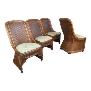Set of Four High Back Rattan and Bamboo Sculptural Dining Chairs For Sale