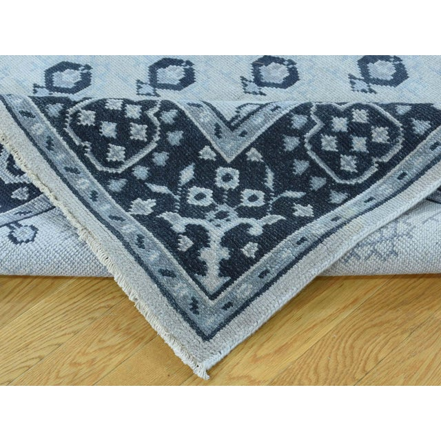 Ivory Hand-Knotted Wool Turkish Knot Oushak Cropped Rug- 9′2″ × 11′10″ For Sale - Image 8 of 12