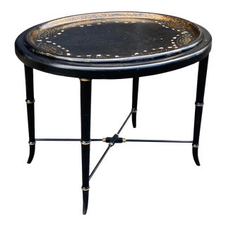 Antique English Paper Mache Tray Table For Sale