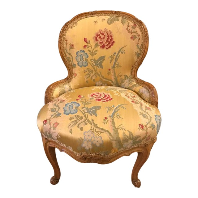 Louis XV Style 2 Tone Gold Leaf Boudoir Chair For Sale