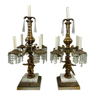 Hollywood Regency Brass Cherub Candelabras Table Lamps - a Pair For Sale