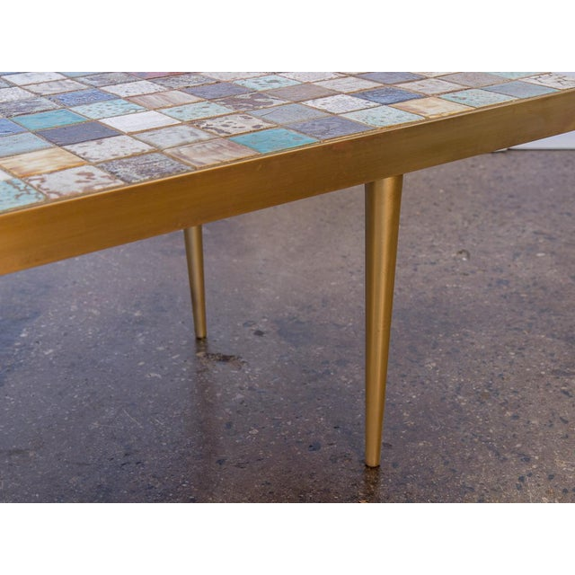 California Modern Tile-Top Brass Coffee Table For Sale In New York - Image 6 of 10