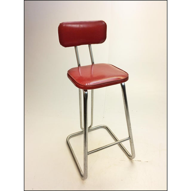 Mid Century Modern Red Vinyl Bar Stool - Image 5 of 11
