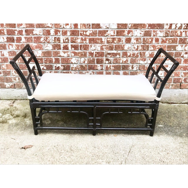 1970s Vintage Faux Bamboo Upholstered Bench For Sale - Image 13 of 13