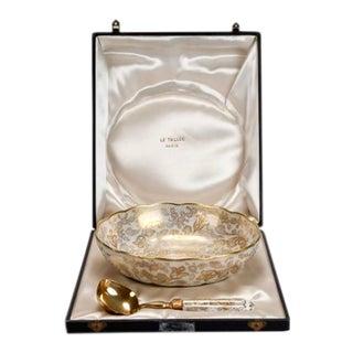 Le Tallec of Paris Gilded Porcelain Serving Set in Presentation Box For Sale