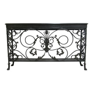1990s French Regency Theodore Alexander Filigree Iron Brass Console For Sale