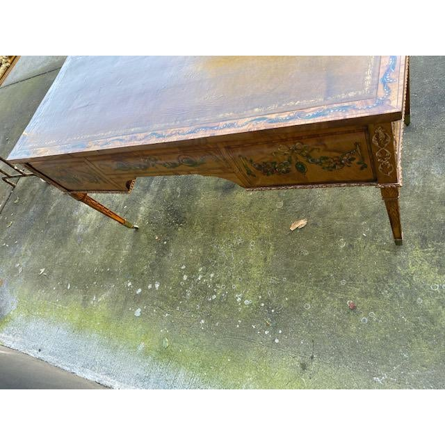 Fine Early 19th C. English Painted Satonwood Desk With Leather Top For Sale - Image 10 of 13