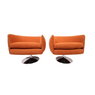 Vintage Swiveling Lounge Chair Pair - Milo Baughman, Adrian Pearsall Style - Original Vintage Design With Newer Fabric - Earthy Orange For Sale