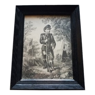 "Young Civil War Soldier on Guard Vintage Print - 12""x15"" For Sale"
