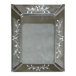 1930s French Deco Etched Wall Mirror