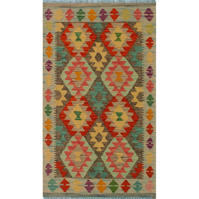 "Kilim Arya Sang Blue & Gray Wool Rug - 2' 7"" X 4' 1"" For Sale"