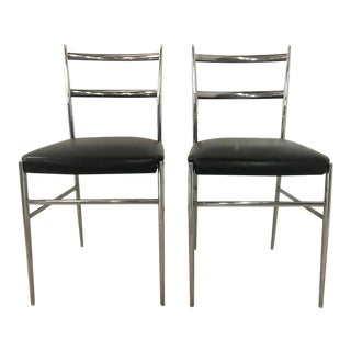 Italian Modern Chrome Side Chairs - a Pair For Sale