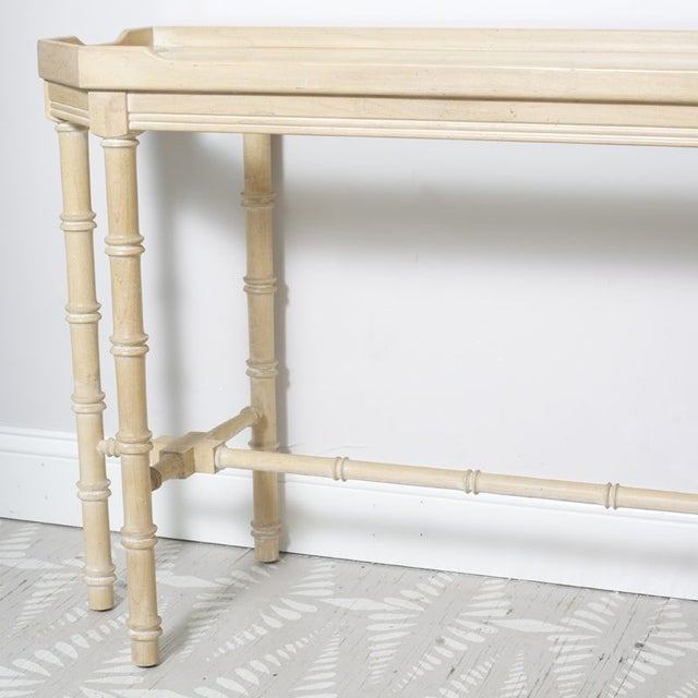 Asian Faux Bamboo Console With Beveled Glass Top For Sale - Image 3 of 5