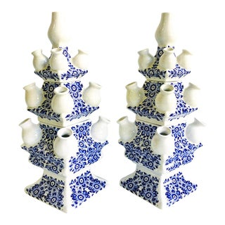 Pair of Blue & White Delft Tulipiere Matching Vases