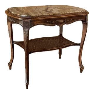 19th Century French Louis XV Walnut End Table With Jasper Stone Top For Sale