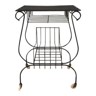 Mid Century Modern Metal Mesh Record/Magazine Cart For Sale