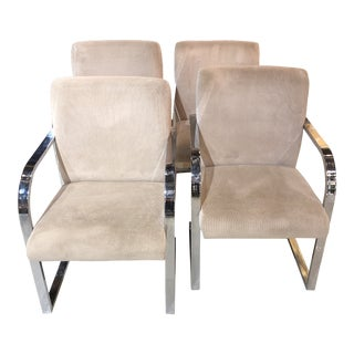 Late 20th Century Contemporary Shells, Inc Chrome & Blush Dining Chairs - Set of 4 For Sale