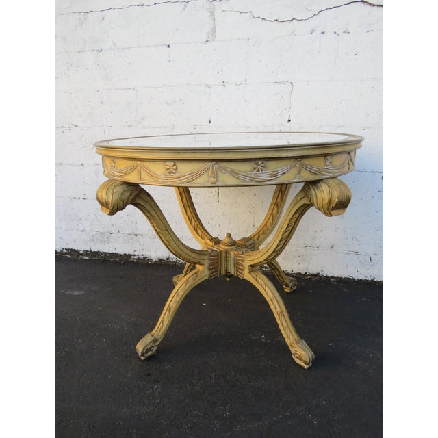 French Painted Heavy Carved Marble Top Large Center Table For Sale - Image 11 of 11