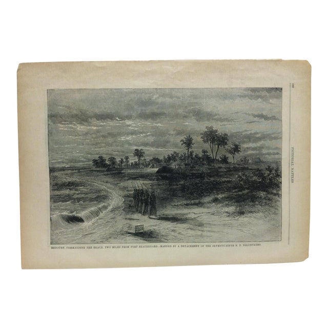 """Late 19th Century Antique """"Redoubt Commanding the Beach Two Miles From Fort Beauregard"""" Pictorial Battles of the Civil War Print For Sale"""