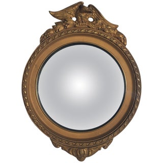 Federal Style Round Convex Giltwood Eagle Mirror For Sale