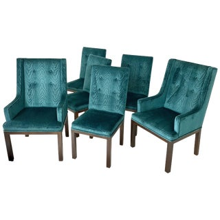 Set of 6 John Widdicomb Tufted Textured Velvet Parsons Dining and Armchairs For Sale