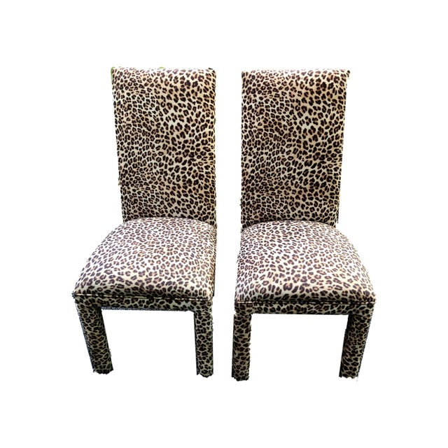 This set of two leopard print Parson chairs are a beautiful addition to multiple areas of any home. They are extremely...