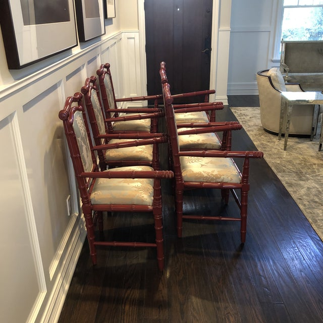 1990s Vintage Faux Bamboo Dining Chairs - Set of 6 For Sale - Image 9 of 12