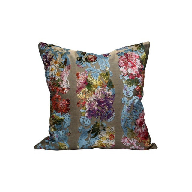 Traditional Jardin Colbert Pillow, Blue Satin For Sale - Image 3 of 3