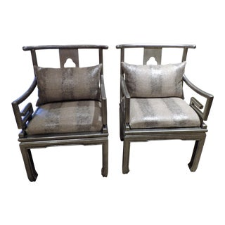 Metallic Lacquered Accent Chairs - a Pair For Sale