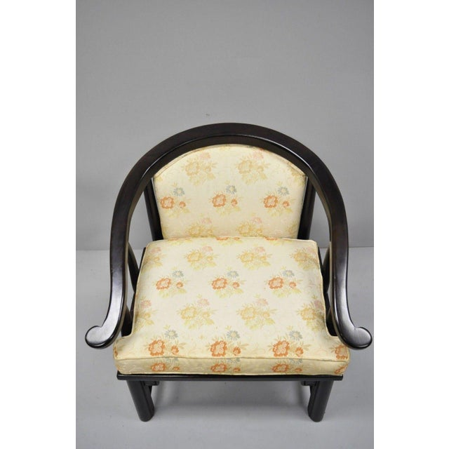 Asian Century Chair James Mont Horseshoe Ming Style Lounge Armchairs - a Pair For Sale - Image 3 of 11