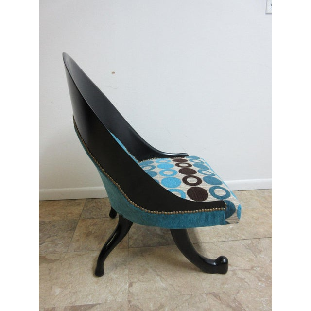 2000s Hollywood Regency Style Modern Scoop Back Fireside Lounge Club Chair For Sale - Image 5 of 10
