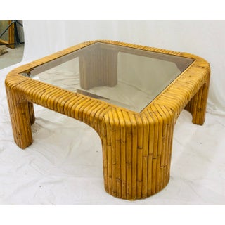 Vintage Bamboo & Rattan Glass Top Coffee Table Preview