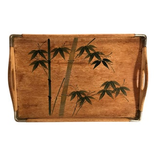 Mid 20th Century Vintage Wooden Handled Tray For Sale