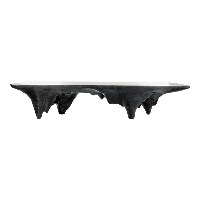 Arctic Dining Table in Charcoal Parchment & Stainless Steel For Sale