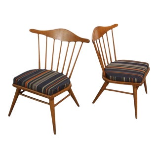 Pair of Conant Ball Spindle-Back Accent Chairs Attributed to Russel Wright For Sale