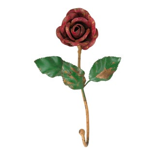 Vintage Italian Tole Red Rose Flower Hook For Sale
