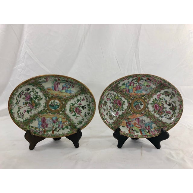 Antique Rose Medialion Oval Plates on Stands - a Pair For Sale - Image 11 of 11