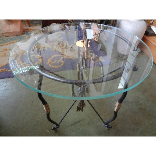 Metal 1970's Italian Giacometti Inspired Iron and Brass Table For Sale - Image 7 of 9