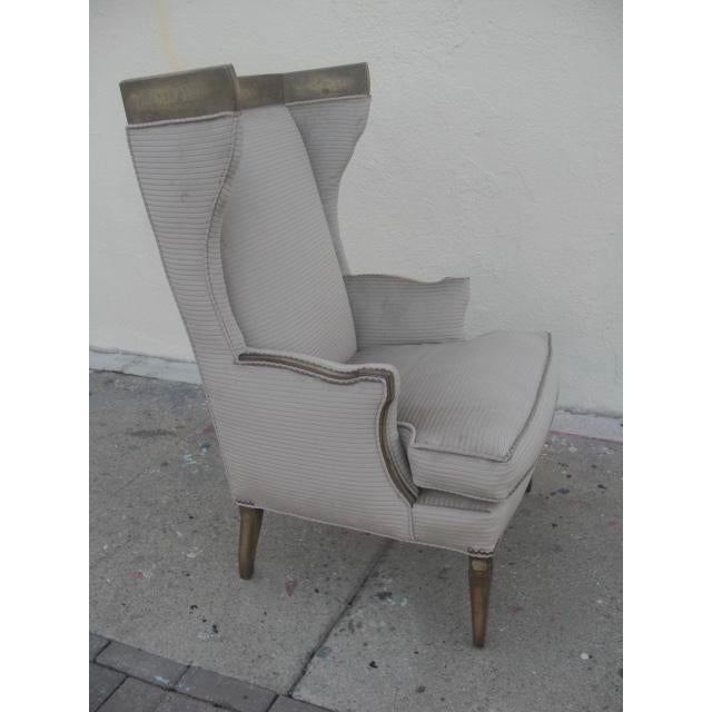 1960s Vintage Custom Upholstered Monumental Wingback Chair For Sale - Image 4 of 10