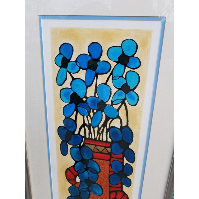 "Contemporary ""Blue Flowers"" Serigraph by Avi Ben Simhon For Sale - Image 3 of 13"