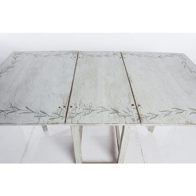 Antique White Swedish Country Dining Table With Painted Botanical Motif For Sale - Image 4 of 6