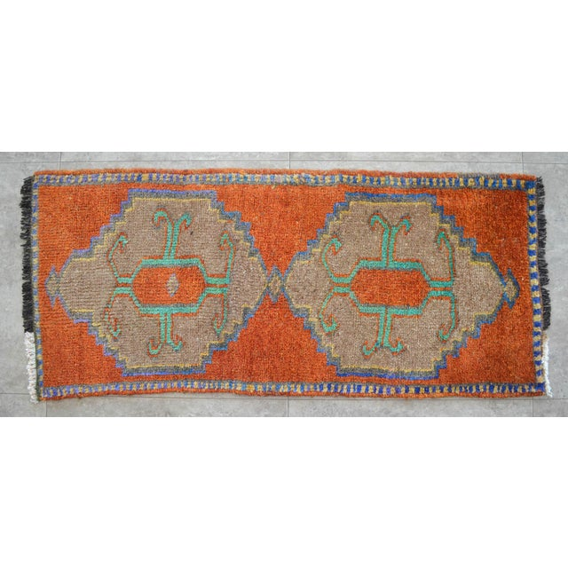 Distressed Low Pile Oushak Yastik Rug Faded Colors Vintage Petite Rug - 18'' X 41'' For Sale - Image 4 of 4