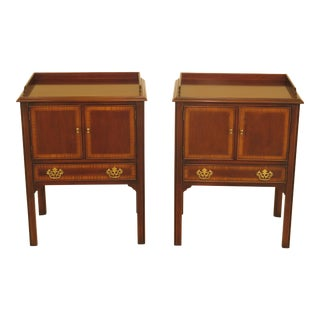 1990s Vintage Drexel Chippendale Style Mahogany Nightstands - A Pair For Sale