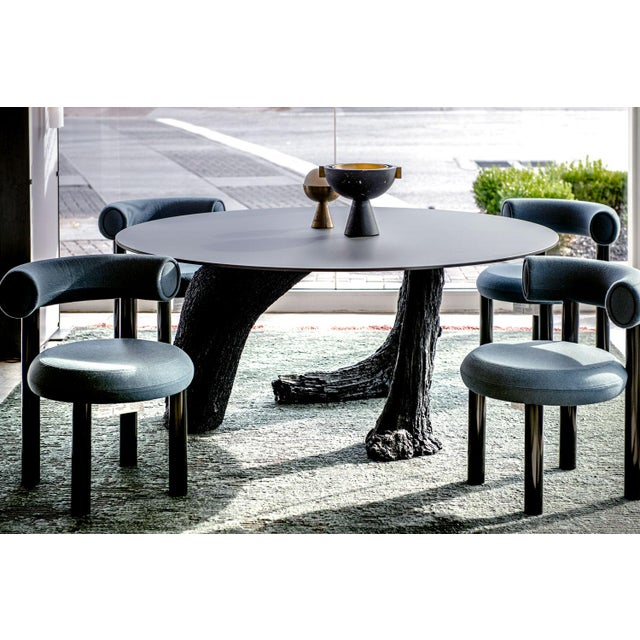 Tom Dixon Blue Gray Upholstery With Metal Gloss Lacquer Leg Dining Chair For Sale In Tulsa - Image 6 of 7