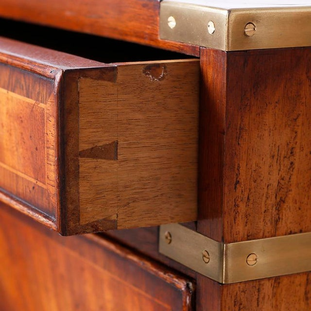 Wood English Campaign Secretary Chest on Stand For Sale - Image 7 of 10