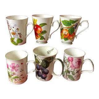 Mismatched English Bone China Mugs - Set of 6 For Sale