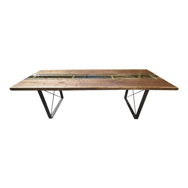 Claro Walnut Slab Dining Table With Solid Brass Inlays + Glass River Center Display For Sale