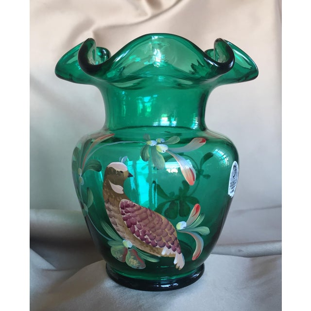 Fenton Emerald Green Glass Hand Painted Vase For Sale - Image 9 of 11